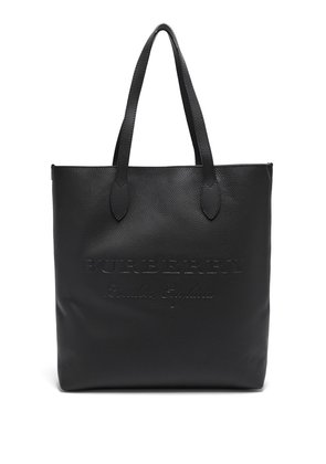 Logo-debossed grained-leather tote