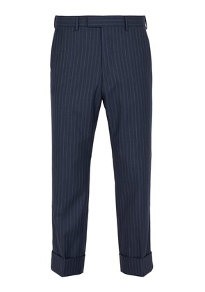 Slim-fit striped wool trousers
