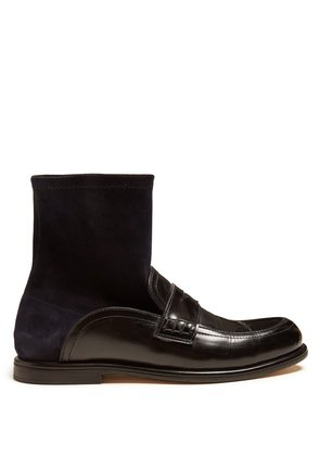 Backless leather sock boots