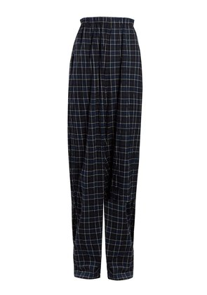 Brushed-cotton checked trousers
