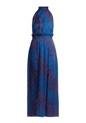 Aiko floral-print pleated silk gown