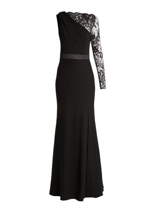 One-shoulder lace and crepe gown