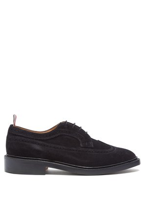 Longwing stacked-sole suede brogues