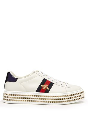New Ace crystal-embellished leather trainers