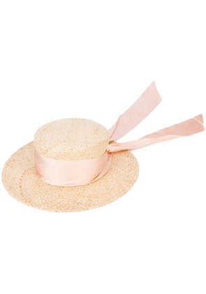 Brother Vellies knot boater hat - Nude & Neutrals