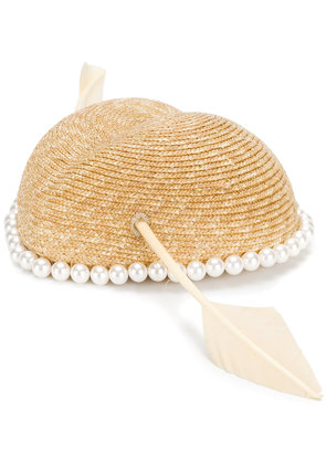 Gucci faux-pearl embellished hat - Nude & Neutrals