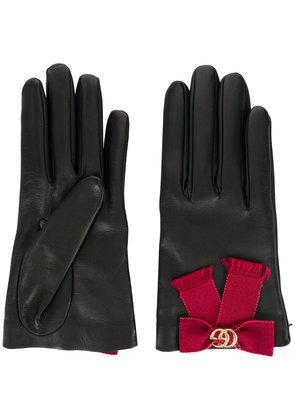 Gucci bow-embellished gloves - Black