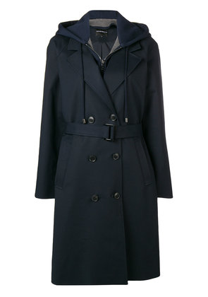 Emporio Armani hoodie layered trench coat - Blue