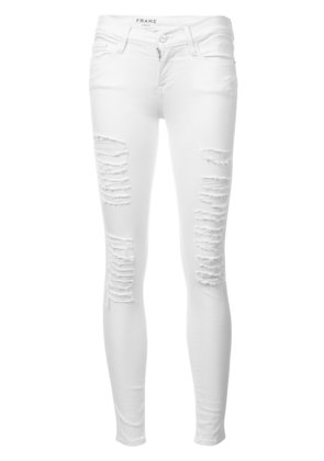 Frame Denim distressed skinny cropped jeans - White