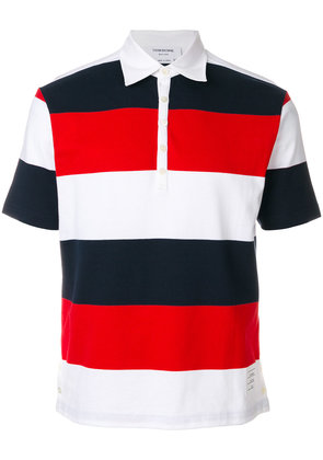 Thom Browne Short Sleeve Polo With 4-Bar Stripe In Blue And Red Rugby