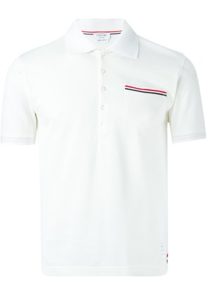 Thom Browne Short Sleeve Polo Shirt In White Cotton Pique