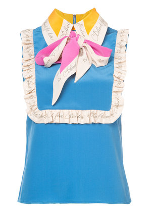 Gucci sleeveless top with neck tie - Blue