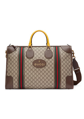 Gucci Soft GG Supreme duffle bag with Web - Nude & Neutrals