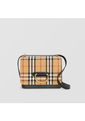 Burberry The Small Vintage Check And Leather D-ring Bag, Black