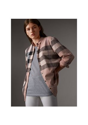 Burberry Check Cotton Shirt, Size: L, Pink