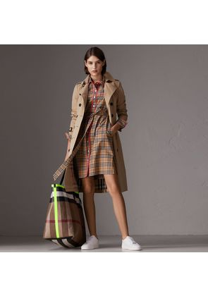 Burberry Contrast Piping Check Cotton Shirt Dress, Size: 04