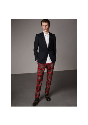 Burberry Tartan Wool Tailored Trousers, Size: 46