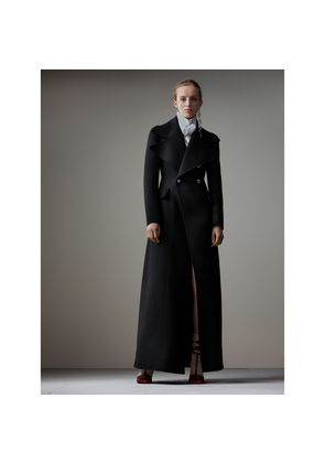 Burberry Felted Wool Full-length Tailored Coat, Size: 10, Black