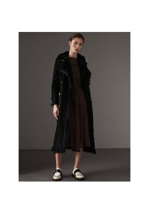 Burberry Shearling Trench Coat, Size: 16