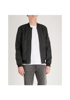 Side pockets quilted shell bomber jacket