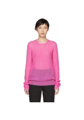 Helmut Lang Pink Feather Weight Mohair Crewneck Sweater