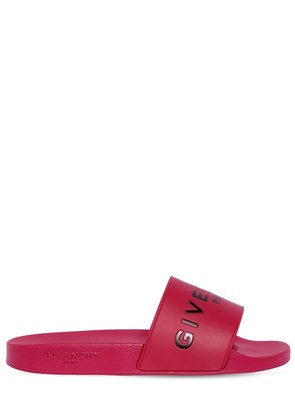 EMBOSSED LOGO RUBBER SLIDE SANDALS