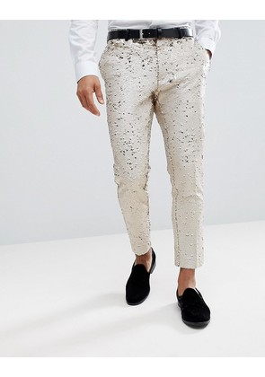 ASOS Wedding Skinny Crop Smart Trousers In Cream Reversible Sequins - Cream