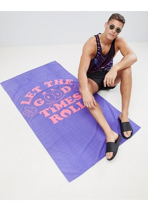 ASOS DESIGN Towel With Let The Good Times Roll Print - Purple