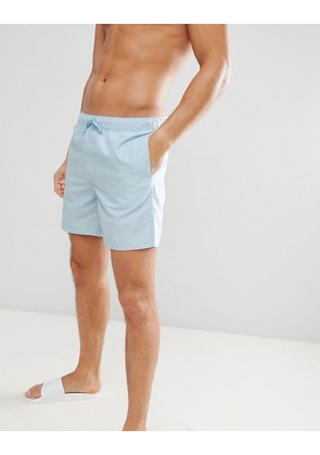 ASOS DESIGN Swim Shorts In Light Blue Mid Length - Blue