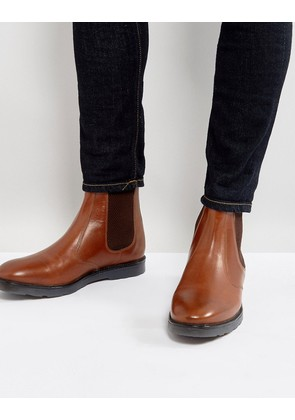 ASOS Chelsea Boots With Heavy Sole In Tan Leather - Tan