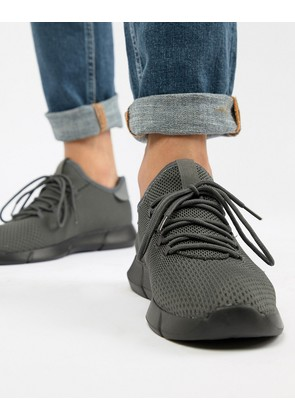 New Look Knitted Detail Trainers In Mid Grey - Mid grey