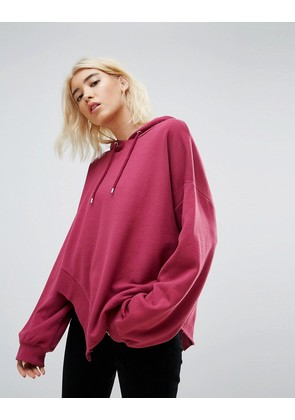 ASOS Hoodie in Oversized Fit and Ravaged Detail - Berry