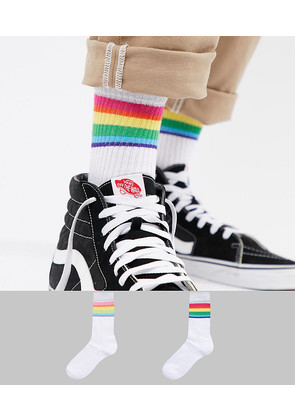 ASOS Sports Style Socks With Rainbow Stripes & Glitter 2 Pack - White