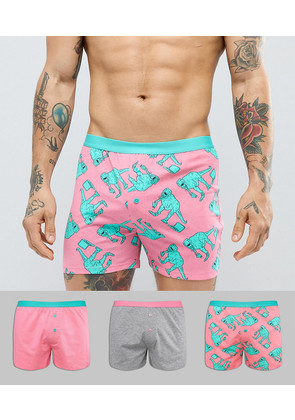 ASOS Jersey Boxers With Dinosaur & Pizza Print 3 Pack - Multi