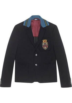 Gucci Cambridge cotton jacket with crest - Blue