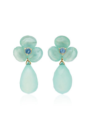 Sorab & Roshi 18K Gold Chalcedony And Sapphire Clip Earrings