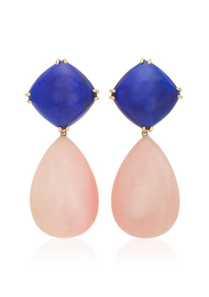 Sorab & Roshi Convertible 18K Gold Lapis And Pink Opal Clip Earrings