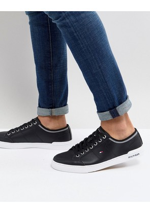 Tommy Hilfiger Core Corporate Leather Trainers in Black - Black