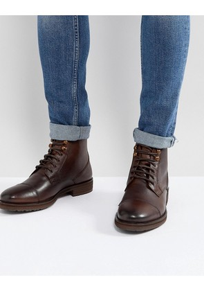 Burton Menswear Leather Lace Up Boot In Brown - Brown