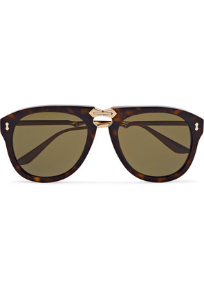 Aviator-style Tortoiseshell Acetate And Gold-tone Sunglasses