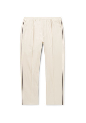 Slim-fit Cropped Piped Cotton-piqué Drawstring Trousers
