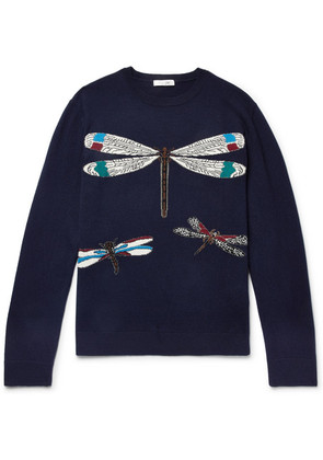 Slim-fit Dragonfly-intarsia Virgin Wool And Cashmere-blend Sweater