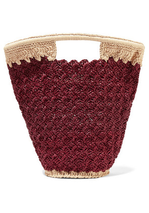 Carrie Forbes - Lily Woven Faux Raffia Bucket Bag - Burgundy