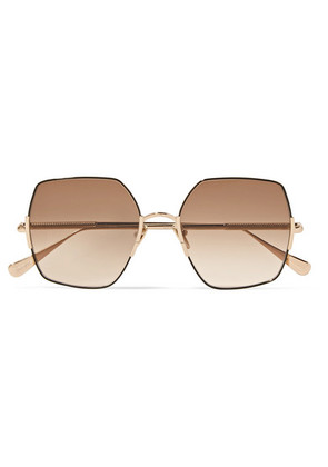 Sunday Somewhere - Eden Oversized Square-frame Gold-tone Sunglasses - Brown