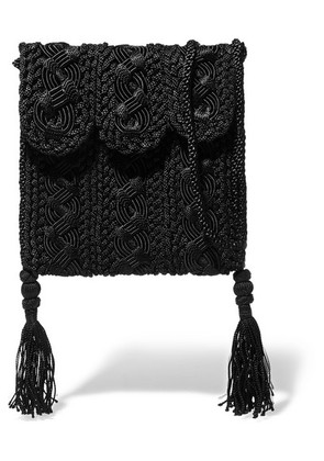 Carrie Forbes - Youssef Small Crocheted Cord Shoulder Bag - Black