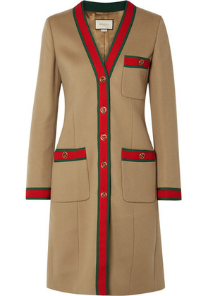 Gucci - Grosgrain-trimmed Wool Coat - Camel