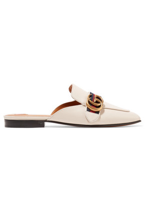 Gucci - Logo-embellished Leather Slippers - Off-white