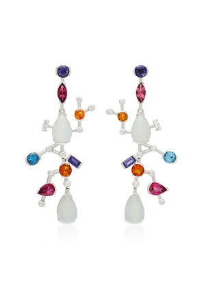Sanjay Kasliwal Abstract Chalcedony And Tourmaline Earrings