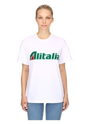 ALITALIA PATCHES COTTON JERSEY T-SHIRT