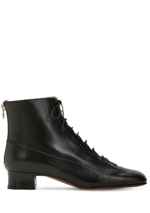 35MM LACE-UP LEATHER ANKLE BOOTS